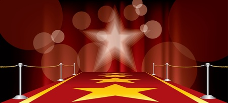 film star: horizontal entertainment background with red carpet and yellow stars