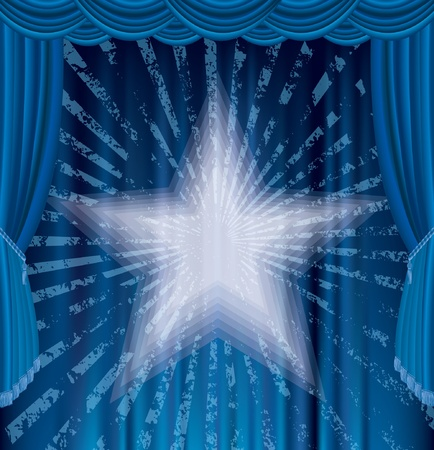 blue stage with star and grunge rays Vector