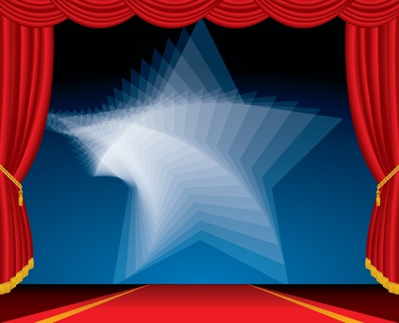 entertainment red carpet background with twirl star Vector