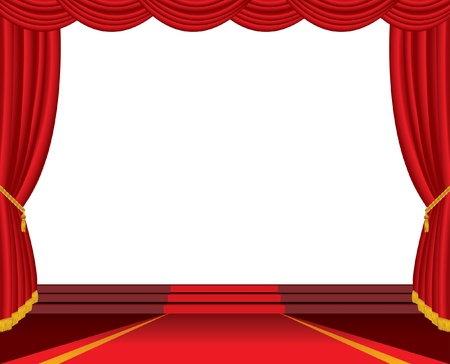 empty stage with red carpet and stairs Vector