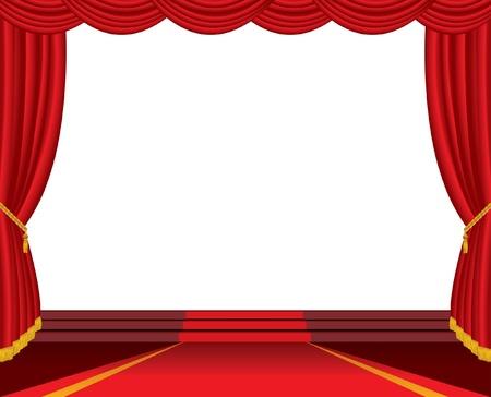sipario chiuso: palco vuoto con tappeto rosso e scale Vettoriali