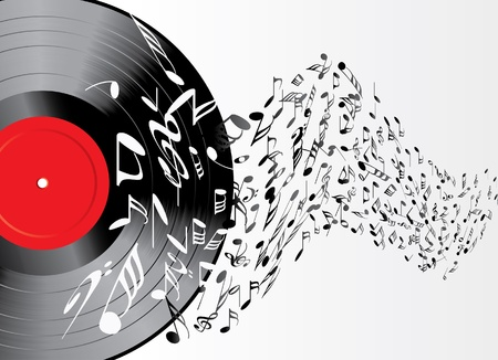 disk jockey: music background with vinyl record