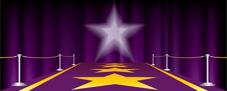 rope way: horizontal entertainment background with purple carpet