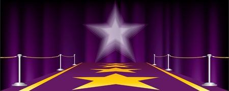 blockbuster: horizontal entertainment background with purple carpet