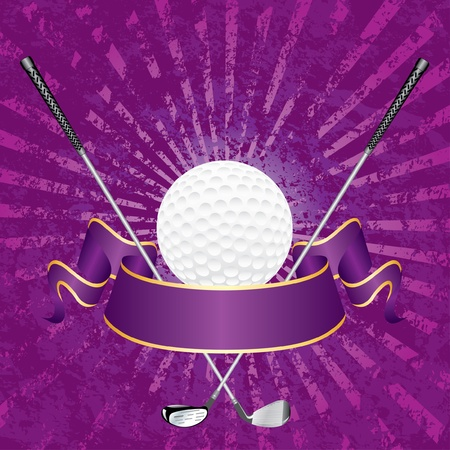 iron ribbon: blank golf award with banner and grunge purple rays Illustration