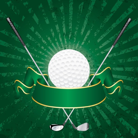 blank golf award with banner and grunge green rays Vector