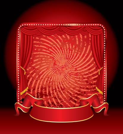 red stage with grunge twirl background Vector
