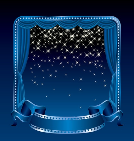 sipario chiuso: sfondo con le stelle cadenti sul palco blu