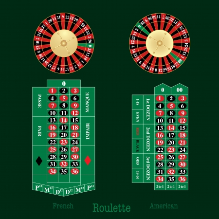 layout of french and american Roulette table and wheel Vector