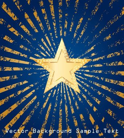 golden star on grunge golden rays Vector