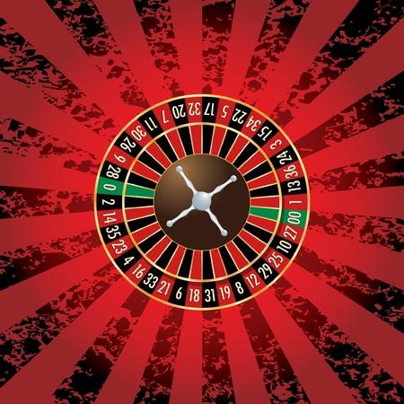 roue de fortune: roue vecteur roulette am�ricaine sur fond grunge Illustration