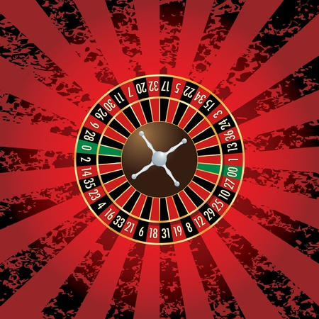 roulette table: vector american roulette wheel on grunge background Illustration