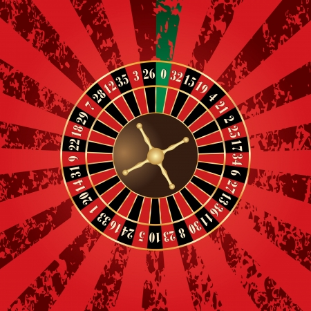 casino roulette: vector french roulette wheel on grunge background Illustration
