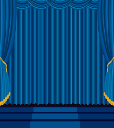 vector empty stage with blue carpet on stairs Vector