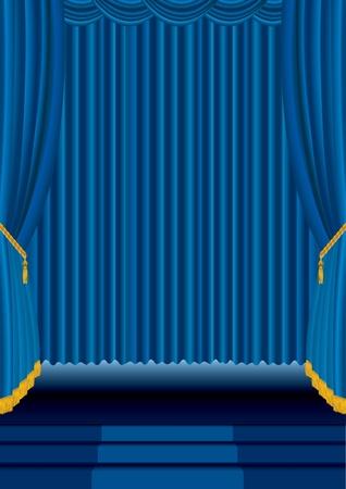 terciopelo azul: entretenimiento de fondo con cortinas de terciopelo azul Vectores