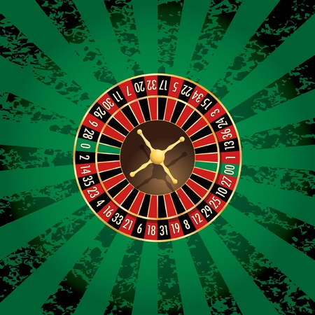 ruleta de casino: vector de rueda de la ruleta americana en fondo del grunge verde Vectores
