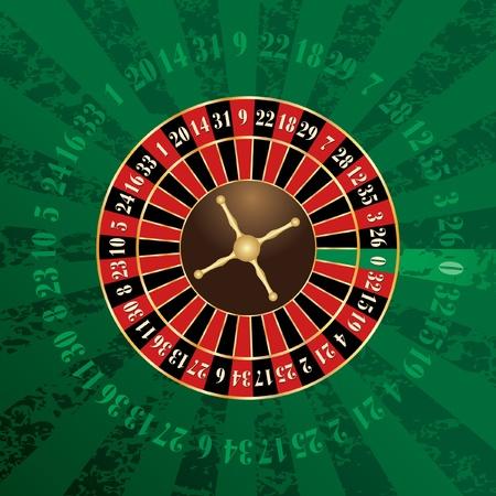 ruleta: vector de franc�s rueda de la ruleta en el fondo del grunge verde