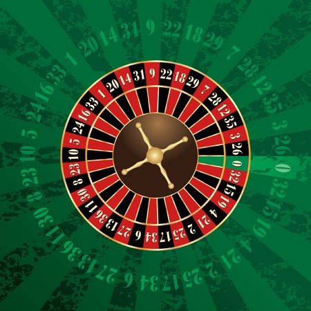 roulette table: vector french roulette wheel on green grunge background