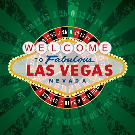 roue de fortune: roue vecteur roulette fran�aise avec Las Vegas signe