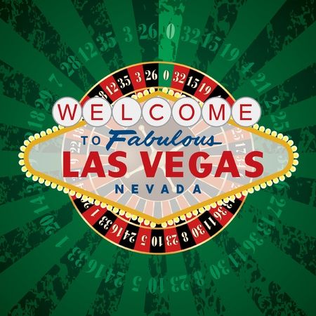 vector french roulette wheel with Las Vegas sign Vector