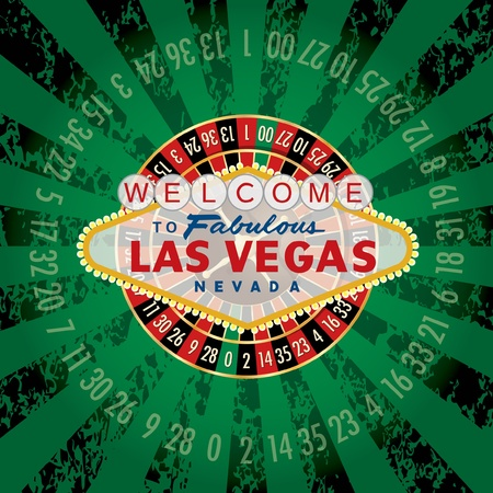 roulette table: vector american roulette wheel with Las Vegas sign Illustration