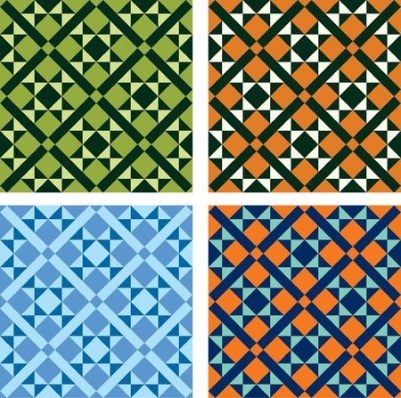mosaic floor: vector geometric pattern in four color variations Illustration