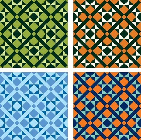 ceramiki: wektor geometryczny wzór w czterech wersjach kolorystycznych Ilustracja