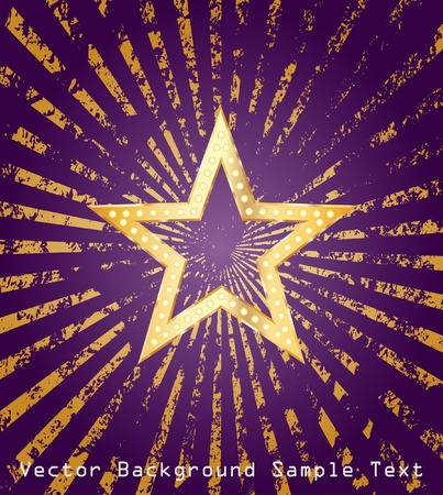 golden star on purple background with grunge golden rays Vector