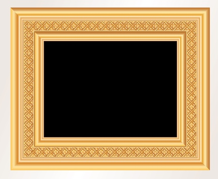 baroque picture frame: vector realistic illustration of baroque golden frame Illustration