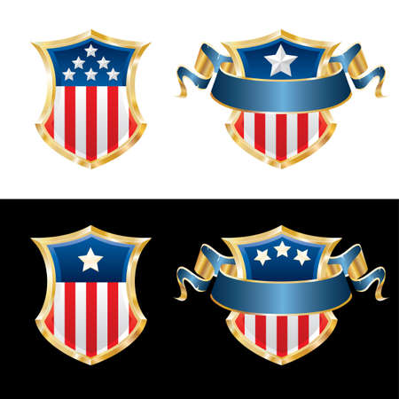 vector illustration of USA patriotic shields