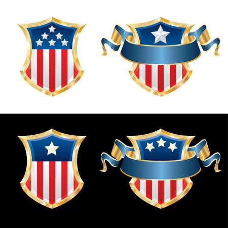 vector illustration of USA patriotic shields Vector