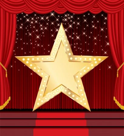marquee sign: vettoriale a stella dorata sul palco