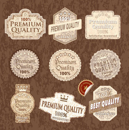 vector vintage designed labels with grunge wooden texture Vector