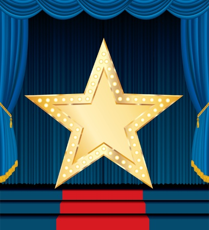 vector blank golden star on blue stage Vector