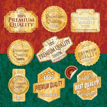 vector vintage designed golden grunge labels  Vector