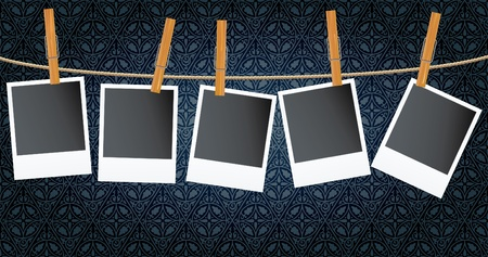 wall hanging: vector blank photos on rope over dark vintage wallpaper  Illustration