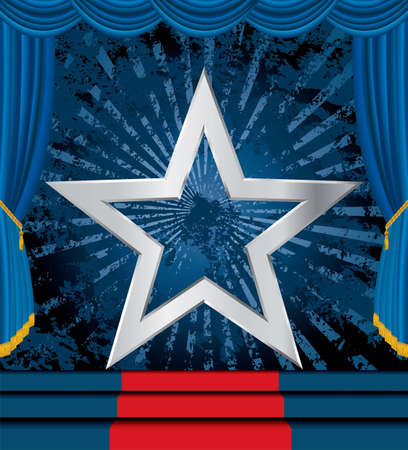 vector silver star on blue grunge stage Stock Vector - 12742269
