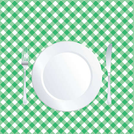 picnic tablecloth: vector plate on green square tablecloth