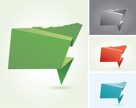 vector abstract origami speech clouds Stock Vector - 12742276