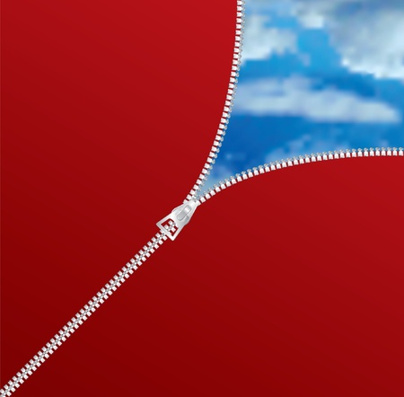 unzipped: vector abstract composition with zipper and cloudy sky Illustration
