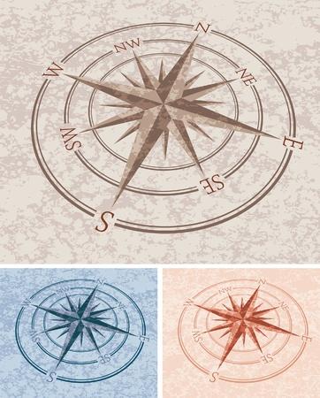 rosa de los vientos: vector de rosas de los vientos, con textura de piedra