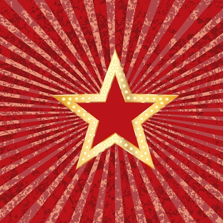golden red star on grunge burst background Vector