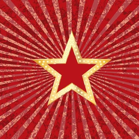 golden red star on grunge burst background Stock Vector - 12759217