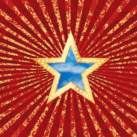 vector star with sky on grunge burst background Vector