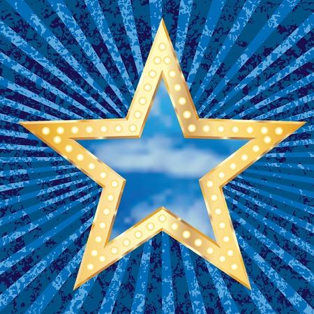 light burst: berry blau mit goldenen Stern und bew�lktem Himmel Illustration