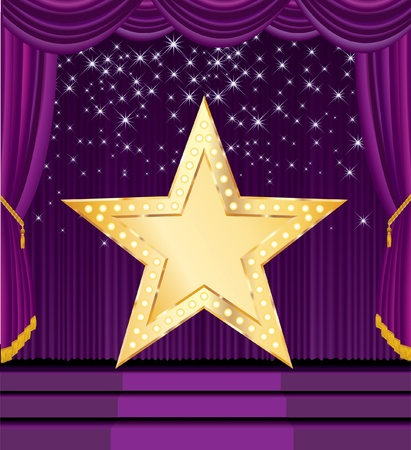 circus stage: vector blank golden star on the purple stage Illustration