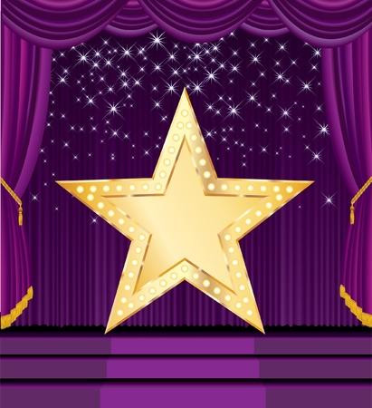 fondo de circo: vectores en blanco estrella de oro en el escenario morado