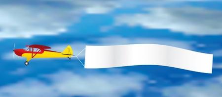 航空ショー: 白紙の横断幕とヴィンテージの飛行機