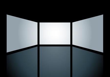 écrans vecteurs vierges sont des trous sur la surface noire et vous pouvez facilement mettre vos images dans la couche inférieure