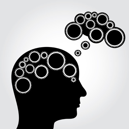 wit: vector abstract illustration of thinking with gears in brain and cloud Illustration